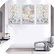 Modern Simple Relief European Style Abstract Fortune Tree Nordic Decorative Painting 3 Panels Canvas Oil Picture Wall Artwork,24x32inchx3 no Frame