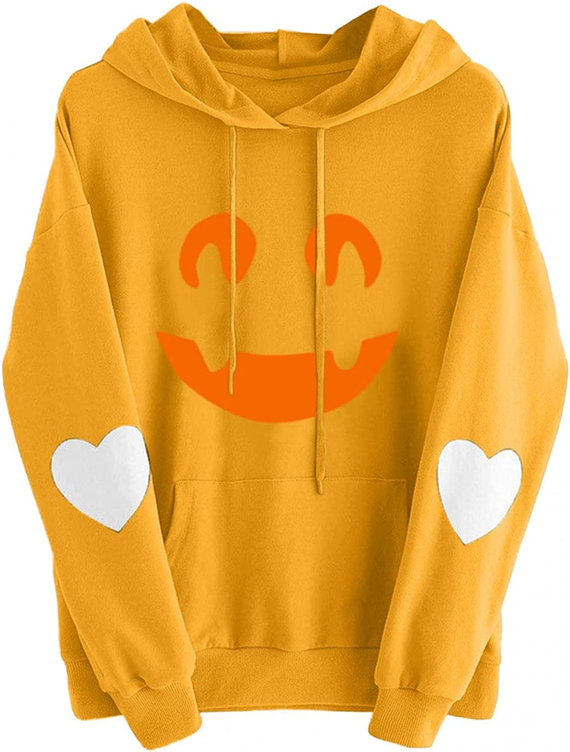 Women Hoodies Cute Funny Face Heart Print NEW San Diego Mall before selling ☆ Hooded Long Sleeve Pul