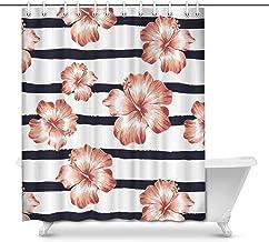 Hawaiian Pulmeria Flower and Leaf House Decor Shower Curtain for Bathroom, Decorative Fabric Bath Curtain Set with Rings, ...