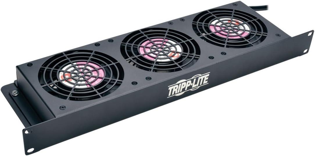 TRIPP LITE Rack Enclosure Server Cabinet 1U Cooling Fan Tray 3 120V High-Performance Fans, 210 CFM SRFAN1U,Black