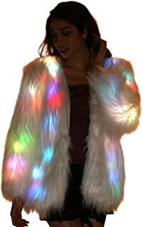 Light Up Coat Fur Led Jacket for Women Glow White Furry Faux Fur Burning Man Costumes Rave Clothes