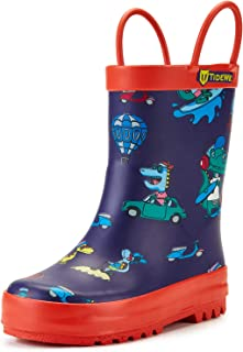 Rain Boots for Kids and Toddlers, Children Natural Rubber Rain Boots with Easy-On Handles, Waterproof Lightweight Kids Rain Boots in Fun Patterns for Boy and Girls