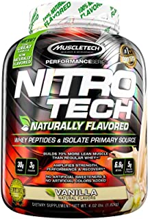 MuscleTech NitroTech Protein Powder Plus Muscle Builder, Naturally Flavored, 100% Whey Protein with Whey Isolate, Vanilla, 40 Servings (4lbs)