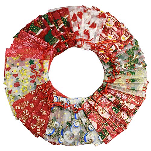 Tuopuda Organza Sachet Pour Cadeaux Ténacité élevée Avec Sangle Télescopique Décoration de Cadeau de Noël Bijoux Décoration de Mariage Sac en Organza de Ruban de Couleur de Fête