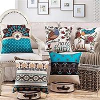 YUKU Set of 5 Decorative Hand Made Jute Throw/Pillow Cushion Covers (Sky blue-02)