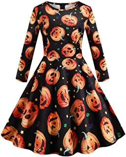Kids Baby Girls Halloween Long Sleeve Printed Vintage Princess Gown Prom Swing Dress Outfits Sets Clothes(3Years-12Years)