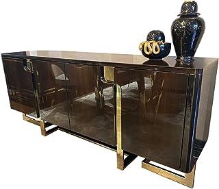 Casa Padrino aparador Art Decó marrón Oscuro/Oro 220 x 55 x A. 90 cm - Armario Noble con 4 Puertas - Muebles de Salón Art ...