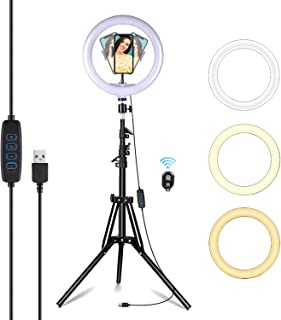 EVAYLIOX LED Ring Light Alta 10.2 Pollici Luce ad Anello Telefono di 3 Colori 11 Luminosità Dimmerabile Anello Luminoso co...