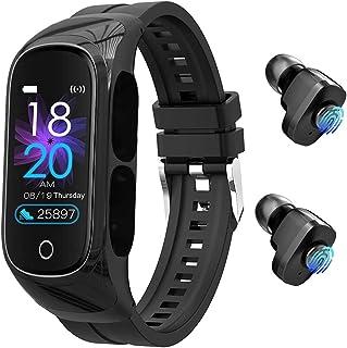 Audífonos con micrófono reloj inteligente – 8 en 1 pulsera inteligente con control táctil TWS auriculares duales, control de fotos, presión arterial, monitor de ritmo cardíaco en modo mono para deporte, hombres y mujeres
