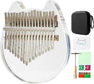 Acrylic Kalimba Thumb Piano Finger Kalimba 17 key With Eva Bag,Tuning Hammer and Manual,Musical Instrument Christmas Gifts for Girls,Kids,Beginners,Birthday Gift (Cat)