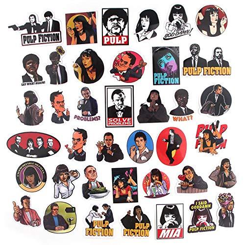 DONGJI Pulp Fiction Suspense Pegatinas Maleta monopatín refrigerador portátil Graffiti Dibujos Animados PVC Pegatinas 39 Piezas