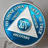 14 años azul y chapado en plata AA Alcohólicos Anónimos Medallón de Sobriedad Chip & Protector de vinilo