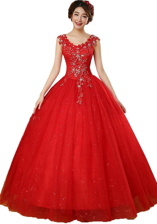 Okaybrial Women's Luxury Wedding Dress V Neck Sleeveless Appliques Ball Gown Bride Dress