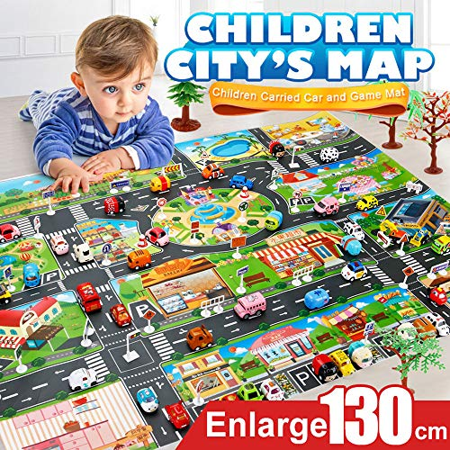 Fine Kids Carpet Play mat Rug, Kids Road Traffic Play Rug,Children Educational Play mat Rug,Baby Bedroom Play Room Game Play Mat Rugs,Great for Playing with Toy Cars Trucks (Multicolor)