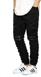 Men's Twill Biker Jogger Pants Shirring Detail S-3XL