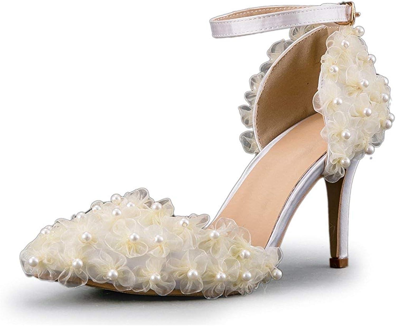 ZHRUI Frauen Gaze Blaumen Elegante Knöchelriemen Knöchelriemen Knöchelriemen Elfenbein Braut Hochzeit Schuhe UK 3,5 (Farbe   -, Größe   -)  a4b2a3