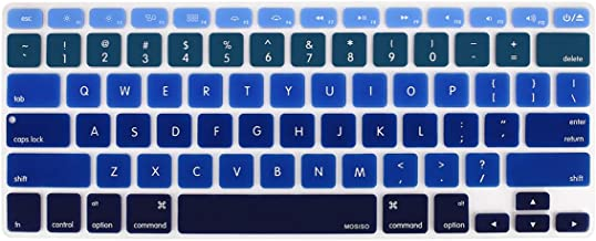 MOSISO Pattern Keyboard Cover Compatible with MacBook Pro 13/15 inch(with/Without Retina Display,2015 or Older Version),Older MacBook Air 13 inch (A1466/A1369,Release 2010-2017), Mix Ombre Blue