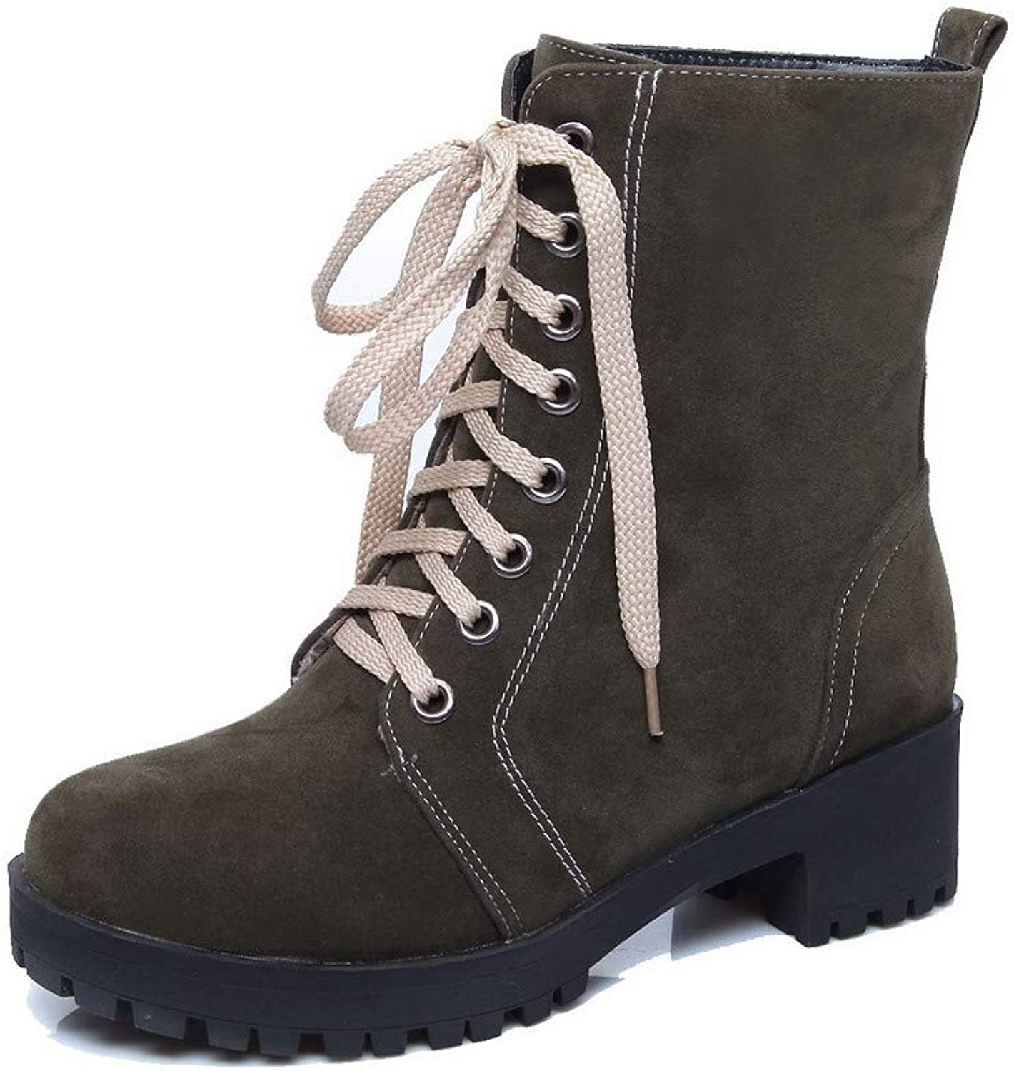AmoonyFashion Women's Lace-Up Round-Toe Kitten-Heels Frosted Mid-Calf Boots, BUTXT024202
