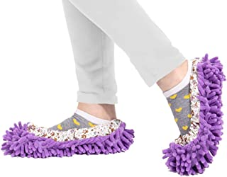 Lemostaar Dust Mop Shoes Slippers - Multi Purpose Sweeping Slippers, Microfiber Mop Heads Cover, Soft Dust Mop Socks Washable & Reusable – 3 Pairs with Free 2 Absorbent Cleaning Towels