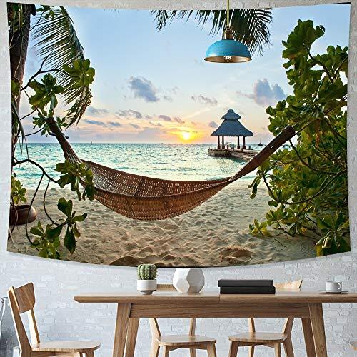 KHKJ Tapiz de Playa Tropical Estilo del Norte de Europa Tapiz de Cielo Estrellado Tapiz Hippie Decoración de Dormitorio Tapiz psicodélico A23 73x95cm