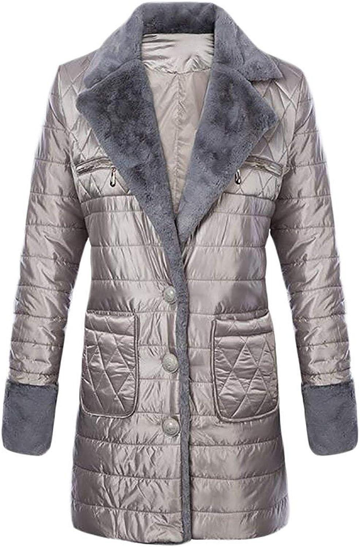 Joe Wenko JWK Womens Quilted Warm 3 Button Down Jacket Coats Parka Outwear