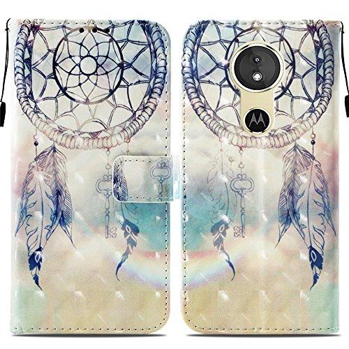 Ooboom® Motorola Moto E5/G6 Play Hülle 3D Flip PU Leder Schutzhülle Stand Handy Tasche Brieftasche Wallet Hülle Cover für Motorola Moto E5/G6 Play - Traumfänger Blau