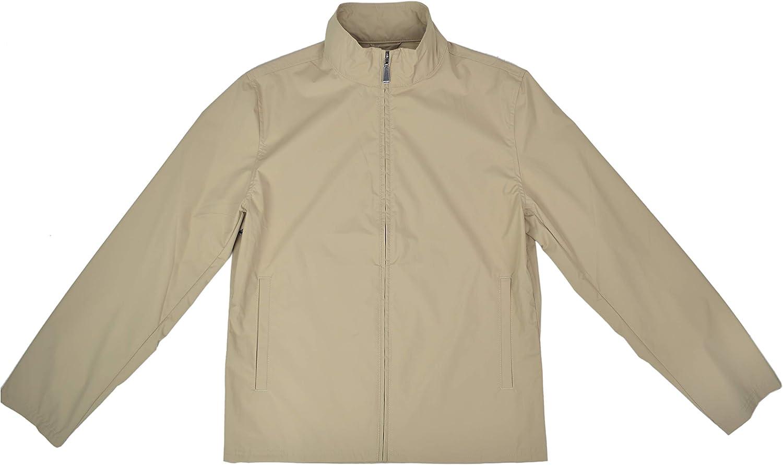 Brooks Brothers Men's Polyester Full Zip Lightweight Rain Coat Jacket Khaki Beige