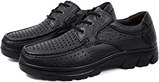 Chaussures D'été en Cuir Ajourées pour Hommes en Cuir,Uniformes De Travail À Lacets Plus Sandales De Taille Basse pour Aid...