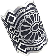 "product image for Bold Deco Stylized Pattern American Pewter Cuff Bracelet, 3"" Wide, Made in USA"