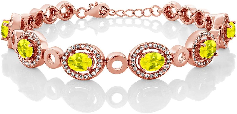 6.72 Ct Oval Canary Mystic Topaz 18K pink gold Plated Silver Bracelet