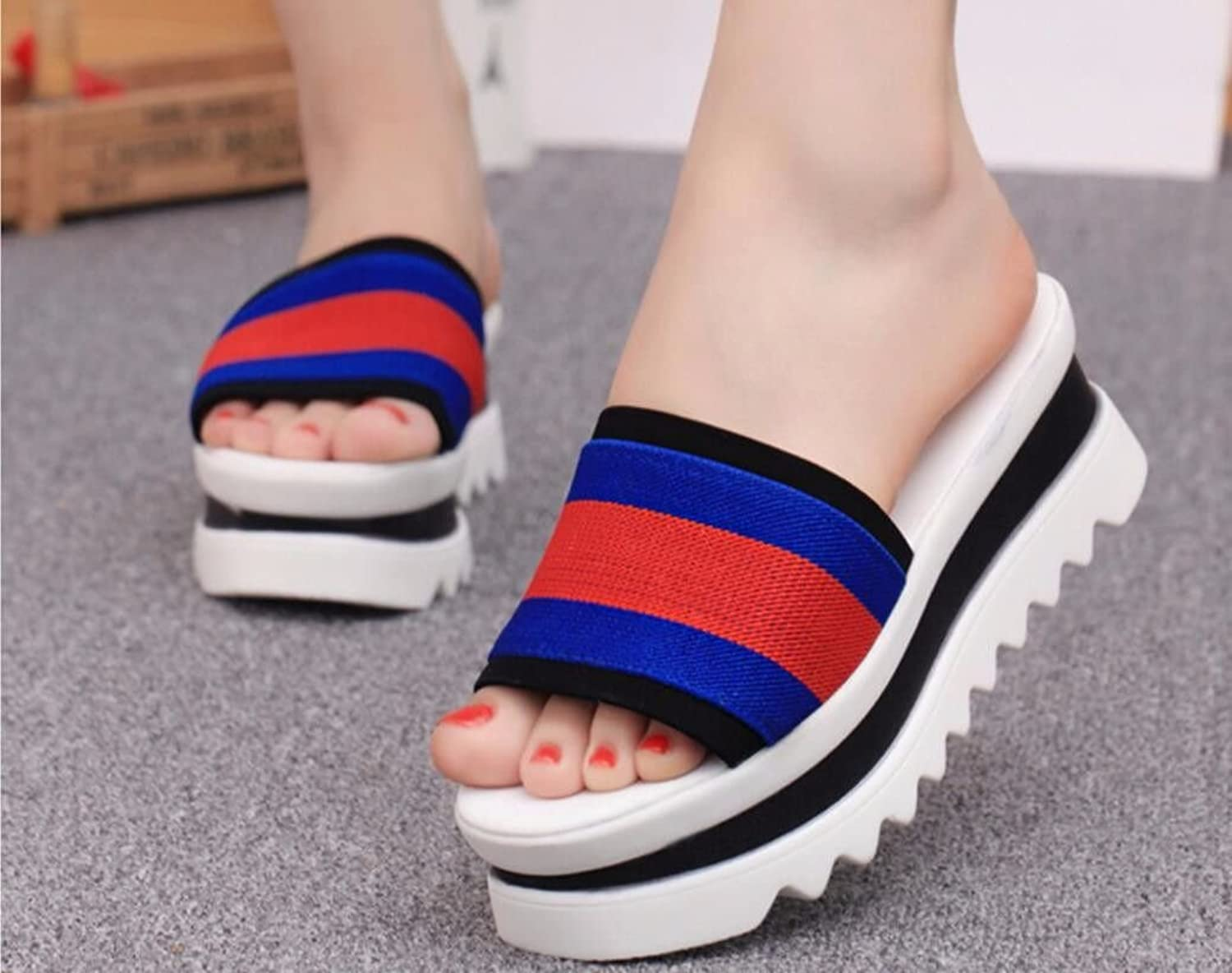 GTVERNH-Women's shoes Fashion in Spring and Summer Cool Slippers Fashionable and Wild are Suitable for Big Feet Thick Feet and High Wear.