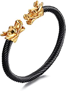 Mens Stainless Steel Opposite Dragon-Themed Twisted Wire Viking Cuff Bangle Bracelet,4 Color