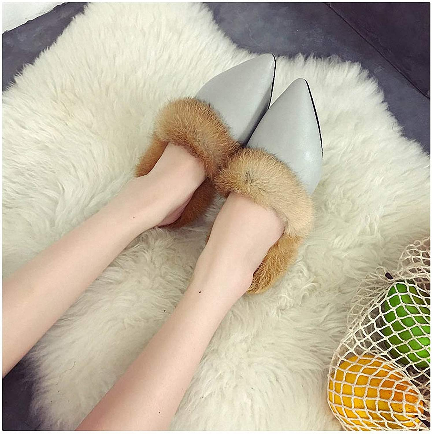 Womens Slippers New Winter Woman Slippers Pointed Toe Fashion Real Rabbit Hair Flats shoes Woman Leather Flip Flops Warm Fur shoes