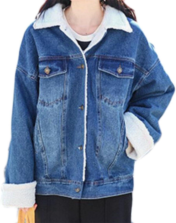 KLJRWomen Outdoor Fleece Button Down Loose Jean Pockets Denim Jacket