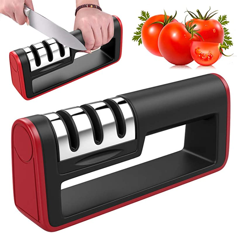 VinMas Kitchen Knives Sharpener New Premium 3 Stage Knife Sharpening Tool Helps Repair Sharpens Dull Knives Quickly Safe And Easy To Use Black And Red
