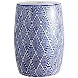 Jonathan Y TBL1019A Moroccan Diamonds 18' Ceramic Drum Garden Stool, Blue/White