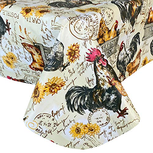"""Newbridge French Country Rustic Farmyard Rooster Print Vinyl Flannel Backed Tablecloth - Farmhouse Hen and Fresh Eggs Indoor/Outdoor Wipe Clean Easy Care Vinyl Tablecloth, 60"""" x 84"""" Oblong/Rectangle"""