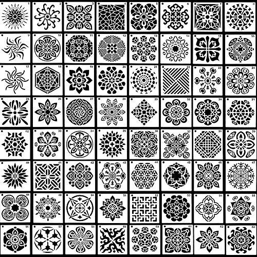 64Pcs plantillas de pintura de mandala, CestMall plantillas de pintura de mandala reutilizables de, plantillas de puntos florales para pintar en madera, tela, vidrio, metal, paredes 3,54 x 3,54''