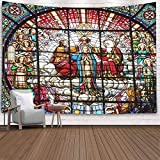 Asdecmoly Tapestry Jesus,Wall Hanging Decor for Living Room Christmas 80 Lx60 W Inches Stained Glass Jesus Father Rose Window Spain October Spainoctober Art Printing Inhouse for Christmas Day