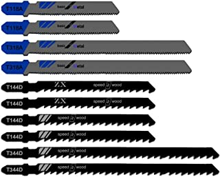 KINYOOO 10 Piece Jigsaw Blades Set with Storage Tube. Jigsaw Blade for Cutting Optimized for Cutting Metal, Wood, PVC, and Plastic.