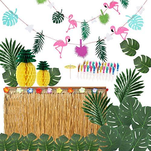 Ucradle Hawaiian Party Dekoration Kit - Hawaii Luau Tischröcke Hibiscus Grass Tischrock Tropischen Banner Künstliche Palmenblätter, Foto Requisiten Zubehör für DIY Garten Beach Party Dekor(66 Stücke)