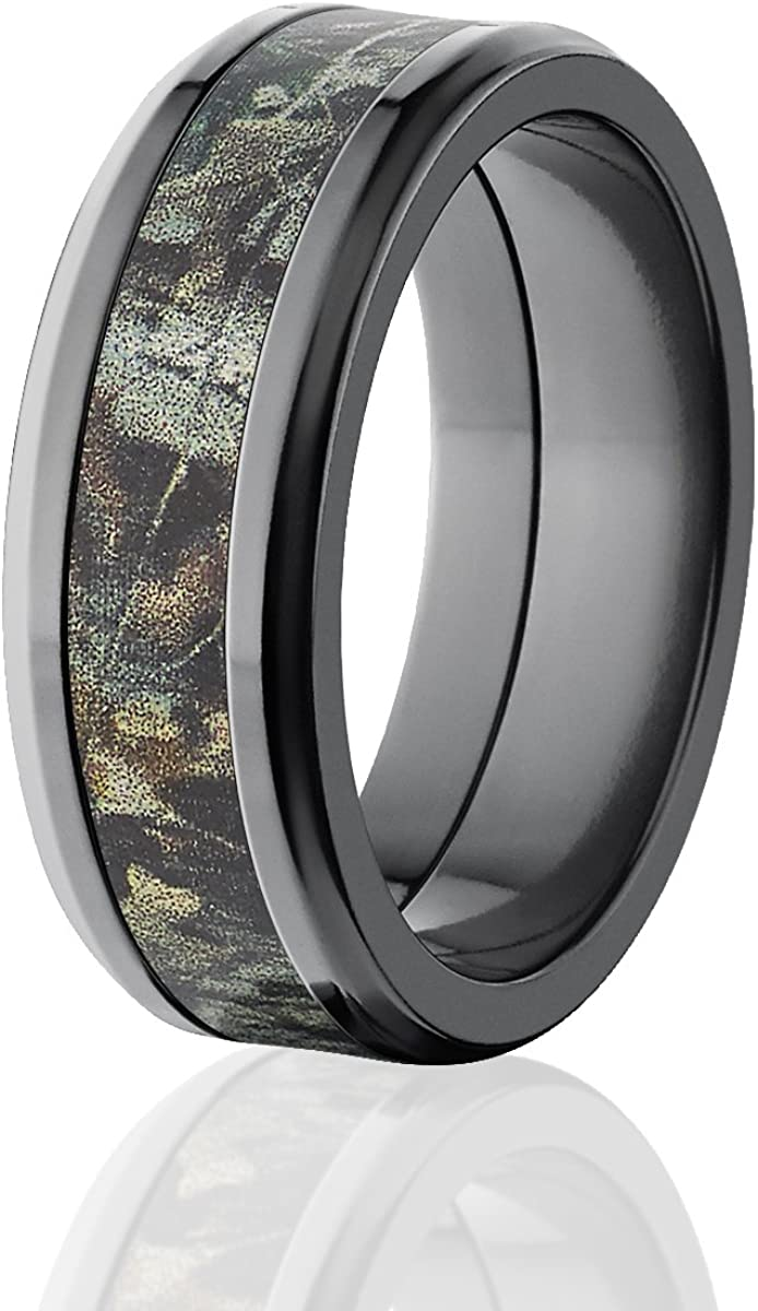 8mm Beveled Realtree Advantage Timber Camo Rings, Camo Wedding Bands