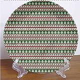 Channing Southey Plato decorativo de cerámica con diseño de Navidad de 25,4 cm, diseño de bolas de acebo de cerámica, accesorio de decoración para pasta, ensalada, fiesta, cocina, decoración del hogar