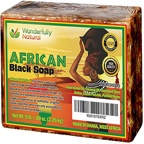 Organic African Black Soap - 5 Pound Best for Acne Treatment, Eczema, Dry Skin, Psoriasis, Scars, Dermatitis, White Heads Pimples, Anti-fungal Face & Body Wash, Raw Handcrafted Beauty Scrub Bar …