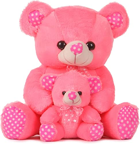 Fugu Pink Mother with Baby Teddy Bear Soft Stuff Toys 45 cm Pink