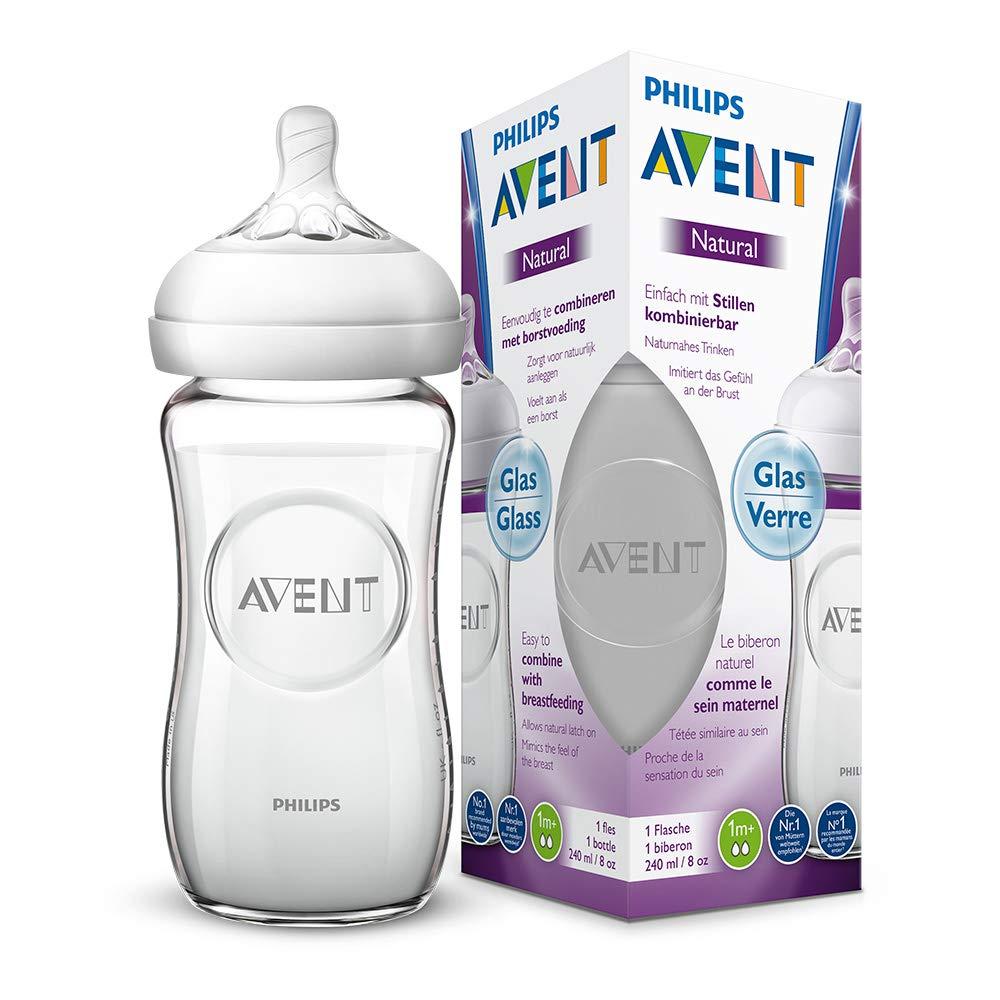 1er Pack 240 ml aus Glas naturnahes Trinkverhalten Philips Avent Natural Flasche SCF053//17 Anti-Kolik-System