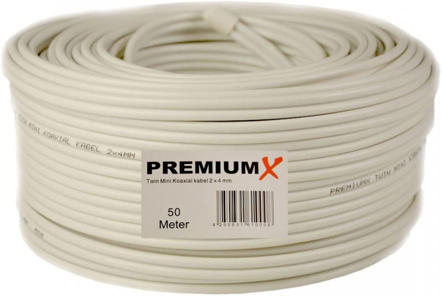 Cable coaxial satelital de 25 Metros 90dB Twin Mini 2X 4 mm, Blanco, Cable de Antena de 25m FullHD HDTV Nuevo