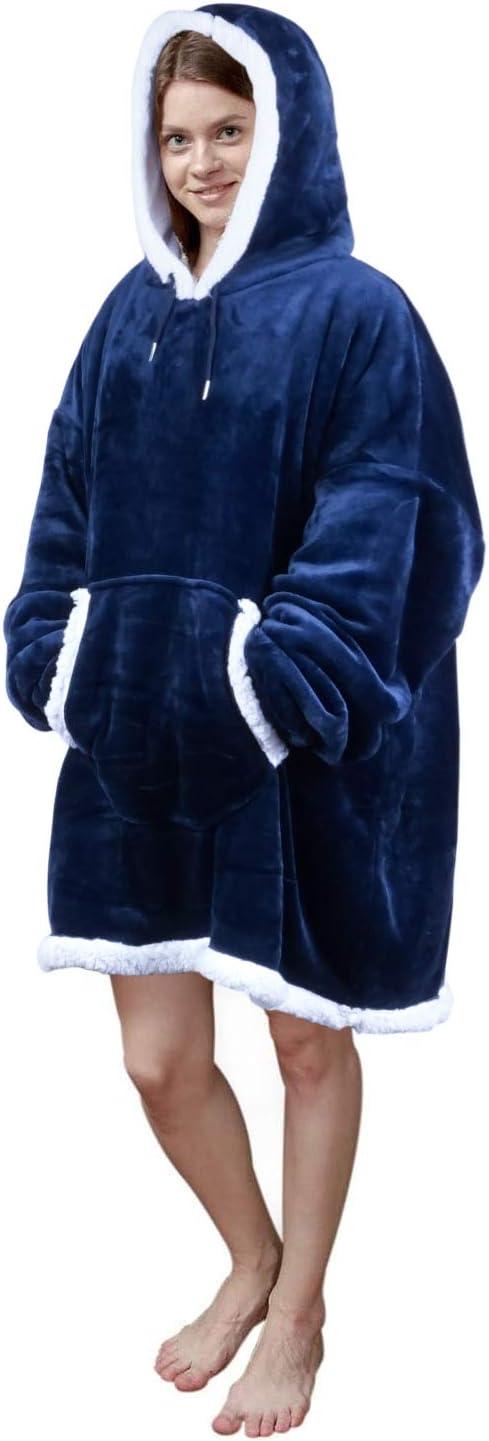 Viviland Sweat à capuche en sherpa doux et chaud avec grande poche frontale