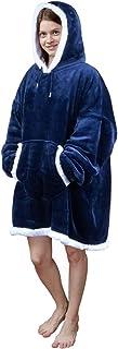 Viviland Sweat à capuche en sherpa doux et chaud avec grande poche frontale, pour adulte, parfait pour une soirée télé