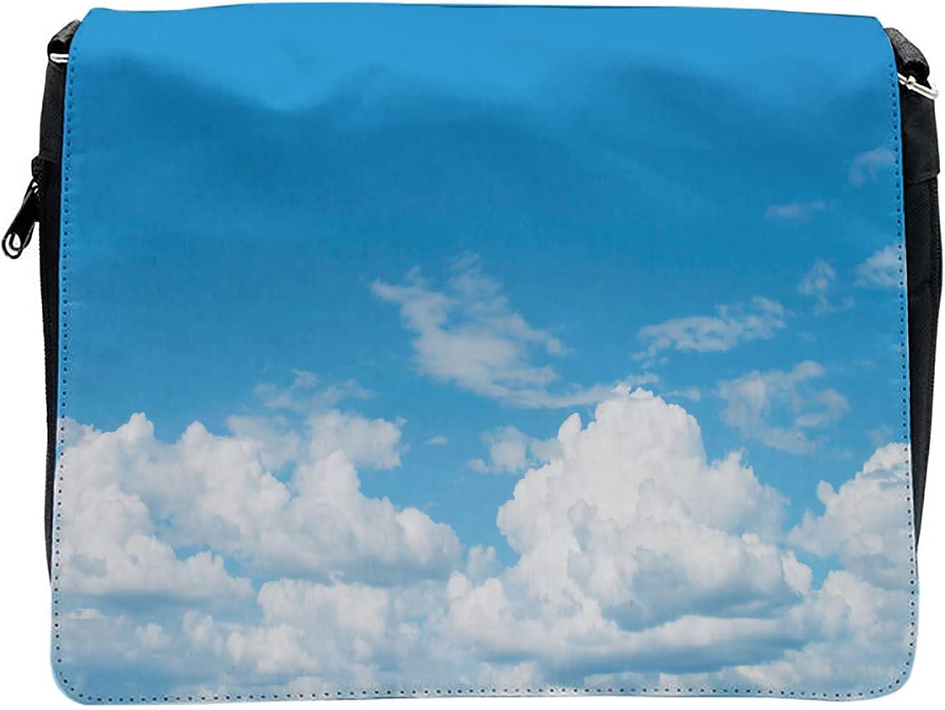 Ambesonne Blue White Cross Body Messenger Bag, Cloudy Calming Scene, Unisex